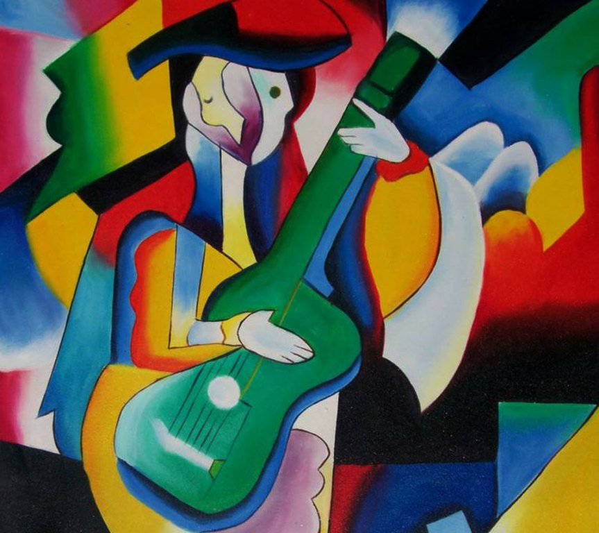 Contemporary abstract original paintings of colorful landscape and man - Pablo Picasso Junglekey Fr Image 250
