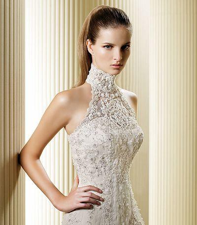 Over Lace Hign Neck Wedding Dresses Column Gowm Long Veil