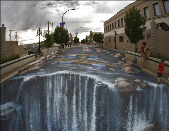 3D painting wallpaper on street