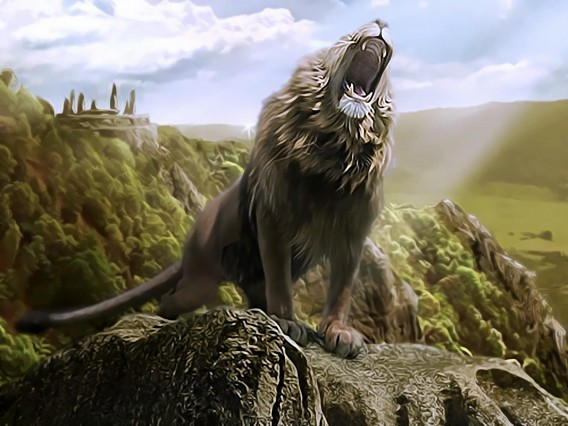 Lion 3D painting wallpaper