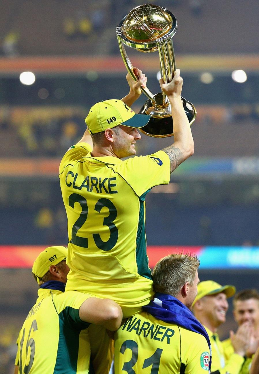 during the 2015 ICC Cricket World Cup final match between Australia and New Zealand at Melbourne Cricket Ground on March 29, 2015 in Melbourne, Australia.