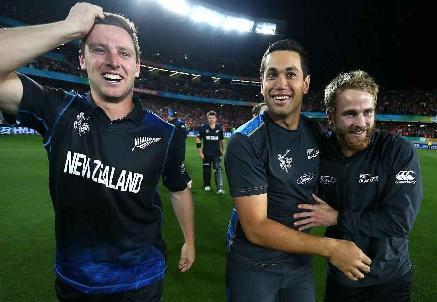 during the 2015 Cricket World Cup Semi Final match between New Zealand and South Africa at Eden Park on March 24, 2015 in Auckland, New Zealand.
